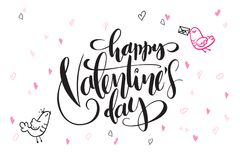 Vector hand lettering valentine`s day greetings text - happy valentine`s day - with heart shapes and birds.  Royalty Free Stock Photos