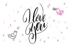 Vector hand lettering valentine`s day greetings text - i love you - with heart shapes and birds.  Royalty Free Stock Images