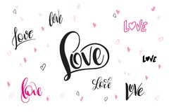 Vector hand lettering valentine`s day love greetings labels  Stock Photography