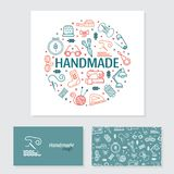 Hand made banner and business card royalty free illustration