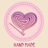 Vector hand made emblem - thread and needle stock illustration