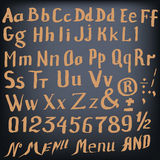 Vector hand made font in hipster style Royalty Free Stock Photos