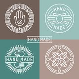Vector hand made label in outline trendy style. Hands icon and text Royalty Free Stock Image