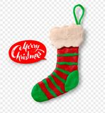 Hand made plasticine figure of Christmas sock. Vector hand made plasticine figure of Christmas sock with shadow isolated on transparency background Stock Photos