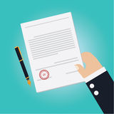 Vector of Hand making agreement for signing contract Stock Image