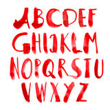 Vector hand painted grungy alphabet - red Stock Photo