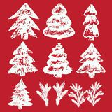 Vector hand-painted ink illustration with brush strokes. New Year Christmas trees Abstract background. Vector hand-painted ink illustration with brush strokes stock illustration