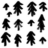 Vector hand-painted ink illustration with brush strokes. New Year, Christmas trees. Abstract background vector illustration