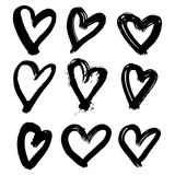 Vector hand-painted ink illustration with hearts. Abstract background. Doodles. Stock Image