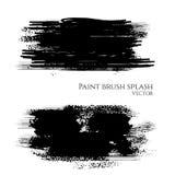 Vector Hand Painted isolated grunge black paint brush splash on white background vector illustration
