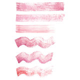 Vector hand painted red and pink grunge straight and wavy brush set. Vector hand painted red and pink grunge straight and wavy brush strokes isolated on the Royalty Free Stock Photos