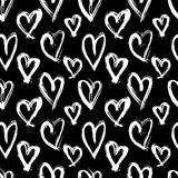 Vector hand-painted seamless pattern with ink hearts. Abstract background. Doodles. Royalty Free Stock Photography