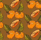 Vector hand painted  seamless pattern with orange persimmon  on brown background. Perfect for wallpaper, wrapping paper, textile, Stock Photos