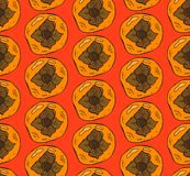 Vector hand painted  seamless pattern with orange persimmon  on red background. Royalty Free Stock Photography