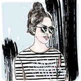 Vector hand painted sketch, fashion illustration with model. Stock Image