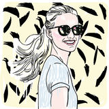 Vector hand painted sketch, fashion illustration with model. Royalty Free Stock Photography