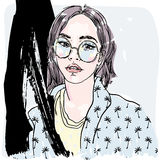 Vector hand painted sketch, fashion illustration with model. Royalty Free Stock Image