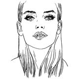 Vector hand painted sketch, fashion illustration with model. Stock Photography