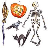 Vector hand pictured Halloween objects Royalty Free Stock Images