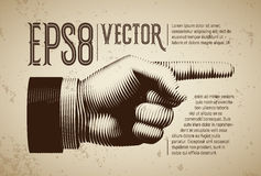 Vector hand with pointing finger in line engraving style. Eps8. RGB. Global colors Royalty Free Stock Photo