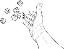 Vector - Hand rolling  dice Stock Photo