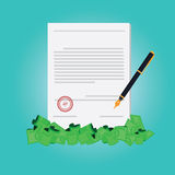 Vector of hand signing contract for make money Royalty Free Stock Images
