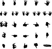 Vector hand silhouettes numbers and symbols. Vector hand silhouettes symbols of numbers and other signs or signals Stock Photography