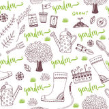 Vector hand sketch Garden pattern with seed packets, tools, tree and watering can. Vector seamless pattern of gardening tools Royalty Free Stock Photo
