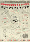 Vector Hand Sketched Doodle Banners, Ribbons and Royalty Free Stock Photography