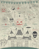 Vector Hand Sketched Doodle Halloween Icons on Crumple Paper Stock Images