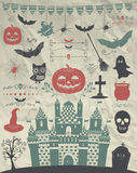 Vector Hand Sketched Doodle Halloween Icons on Crumple Paper Stock Photo