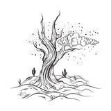 Vector hand sketched illustration of deserted landscape with dead tree. Realistic artwork made in hand drawn style. Template for card ,poster , banner, print stock illustration
