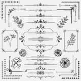 Vector Hand Sketched Rustic Design Elements, Dividers. Decorative Black Hand Sketched Rustic Floral Doodle Corners, Branches, Frames, Dividers, Text Frames Royalty Free Stock Images