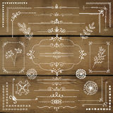 Vector Hand Sketched Rustic Design Elements, Dividers. Decorative White Rustic Floral Corners, Branches, Frames, Dividers, Text Frames, Border Lines, Page Royalty Free Stock Photo