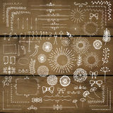 Vector Hand Sketched Rustic Design Elements, Dividers. Decorative White Rustic Floral Corners, Branches, Frames, Dividers, Text Frames, Sunbursts, Design Royalty Free Stock Image