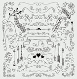 Vector Hand Sketched Rustic Floral Design Elements Stock Photos