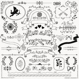 Vector Hand Sketched Rustic Floral Design Elements Stock Photo