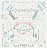 Vector Hand Sketched Rustic Floral Design Elements Royalty Free Stock Photo