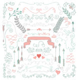 Vector Hand Sketched Rustic Floral Design Elements Royalty Free Stock Photography