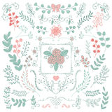 Vector Hand Sketched Rustic Floral Doodle Branches Stock Image