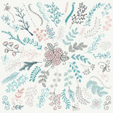 Vector Hand Sketched Rustic Floral Doodle Branches Royalty Free Stock Image
