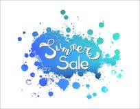 Vector hand sketched Summer Sale on bloth blue royalty free stock photos