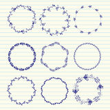 Vector hand sketched wreaths. Hand drawn set of vintage elements, flowers and leaves, birds, ribbons and ornaments. Vector hand sketched wreaths. Decoration for Stock Photo
