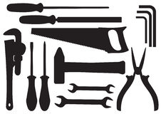 Vector Hand Tools Kit Stock Photography