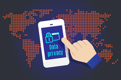 Vector : Hand touch on mobile with Data Privacy word with map in Stock Images