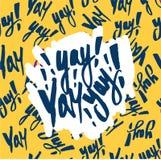 Vector in hand van letters voorziende affiche Hand getrokken kalligrafie YAY vector illustratie