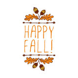 Vector handdrawn autumn element with text Royalty Free Stock Photography