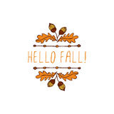 Vector handdrawn autumn element with text Royalty Free Stock Photo