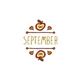 Vector handdrawn autumn element with text. Hand-sketched typographic element with apple, hearts and text on white background. First month of fall - September Royalty Free Stock Images