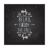 Vector handdrawn autumn element with text Stock Photos